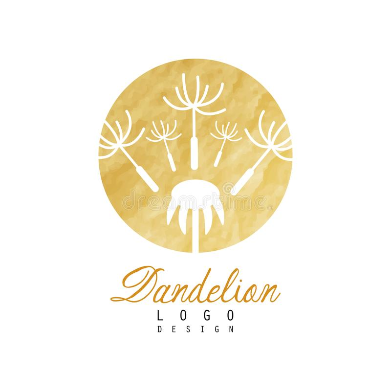 Lyxig logodesign av maskrosen med att flyga fluffigt frö Abstrakt naturlig etikett med guld- detaljerad textur vektor stock illustrationer