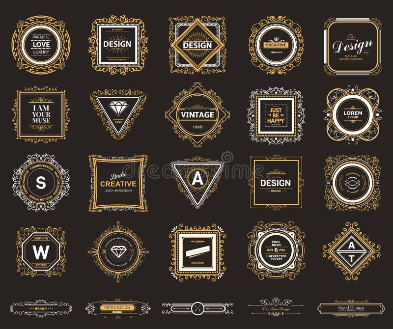 Lyxig logomall för monogram vektor illustrationer