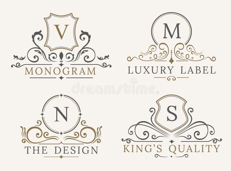 Lyxig logomall Sköldaffärstecken för skylt Monogramidentitetsrestaurangen, hotell, boutique, kafé, shoppar vektor illustrationer
