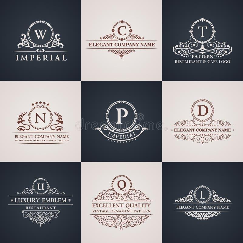 Lyxig logouppsättning Elegant Calligraphic modell royaltyfri illustrationer