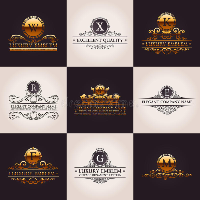 Lyxig logouppsättning Elegant Calligraphic modell stock illustrationer