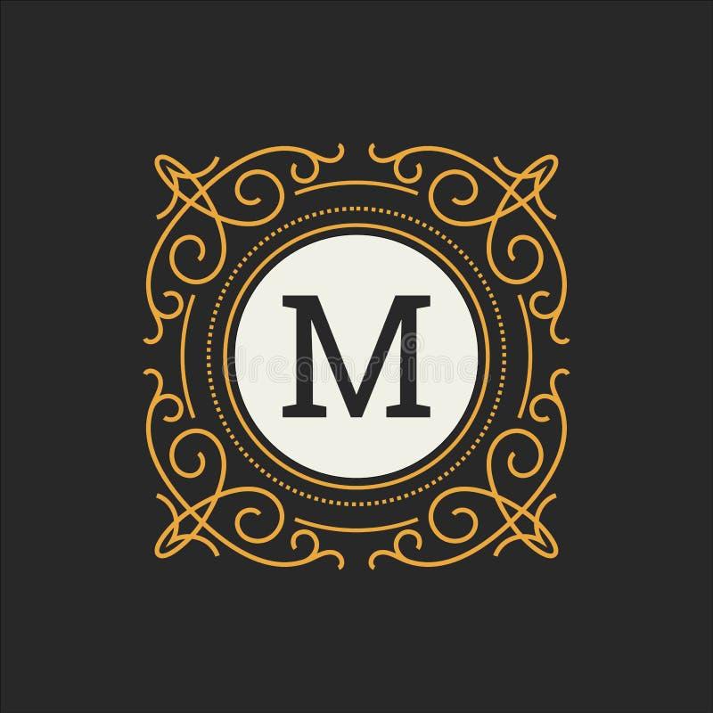 Lyxig logovektormall för restaurangen, royalty, boutique, kafé, hotell som är heraldiskt, smycken, mode Blom- bokstav vektor illustrationer