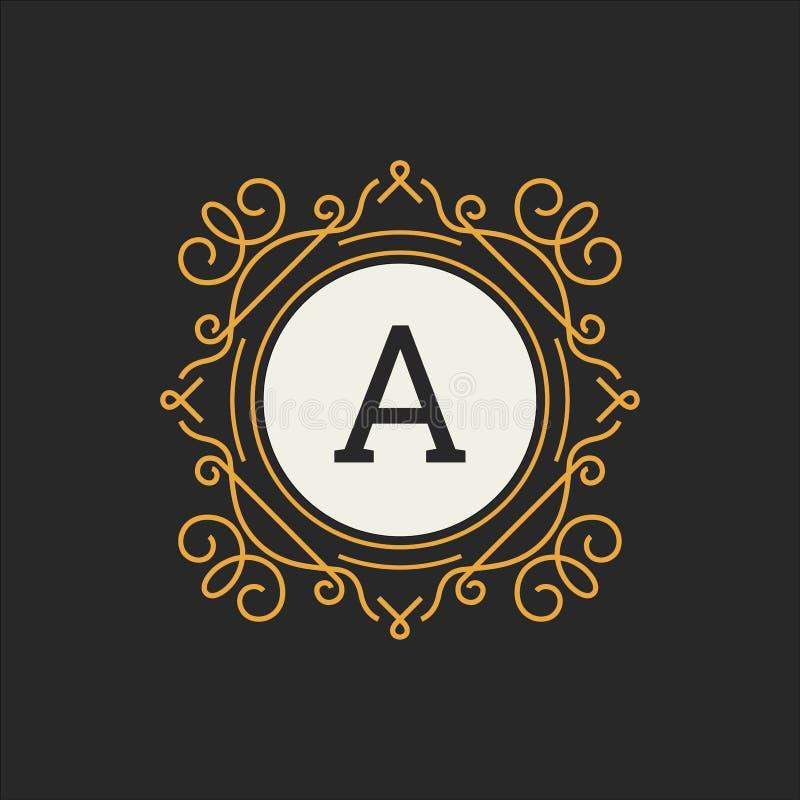 Lyxig logovektormall för restaurangen, royalty, boutique, kafé, hotell som är heraldiskt, smycken, mode Blom- bokstav stock illustrationer