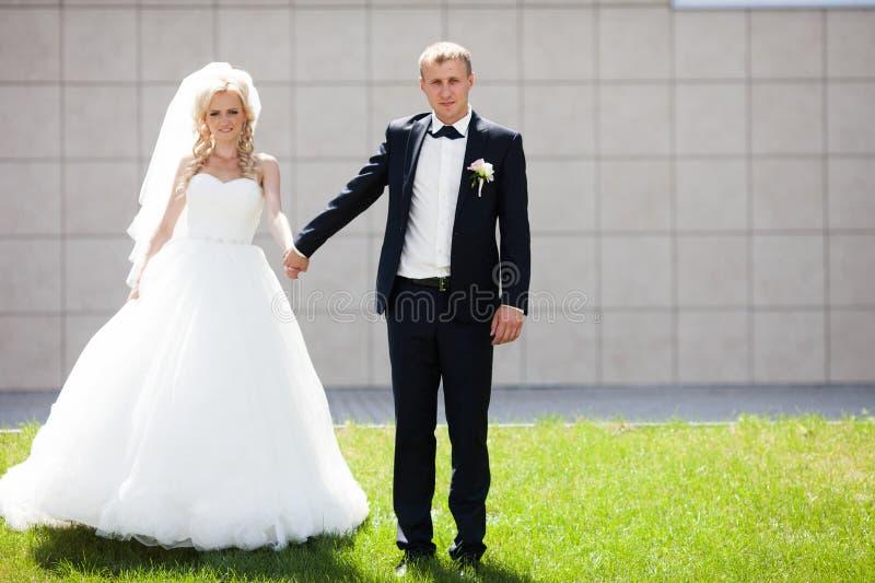 Lyxig lycklig blond brud och elegant brudgum på bakgrundsnollan royaltyfri bild