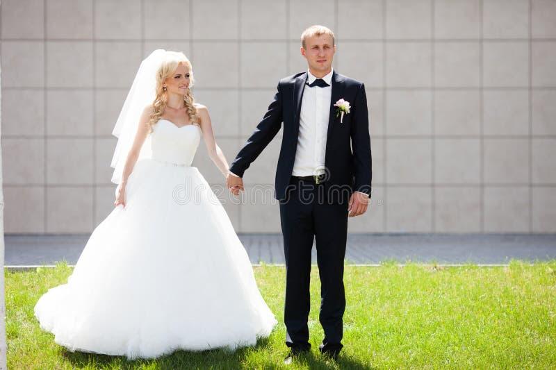 Lyxig lycklig blond brud och elegant brudgum på bakgrundsnollan royaltyfri fotografi