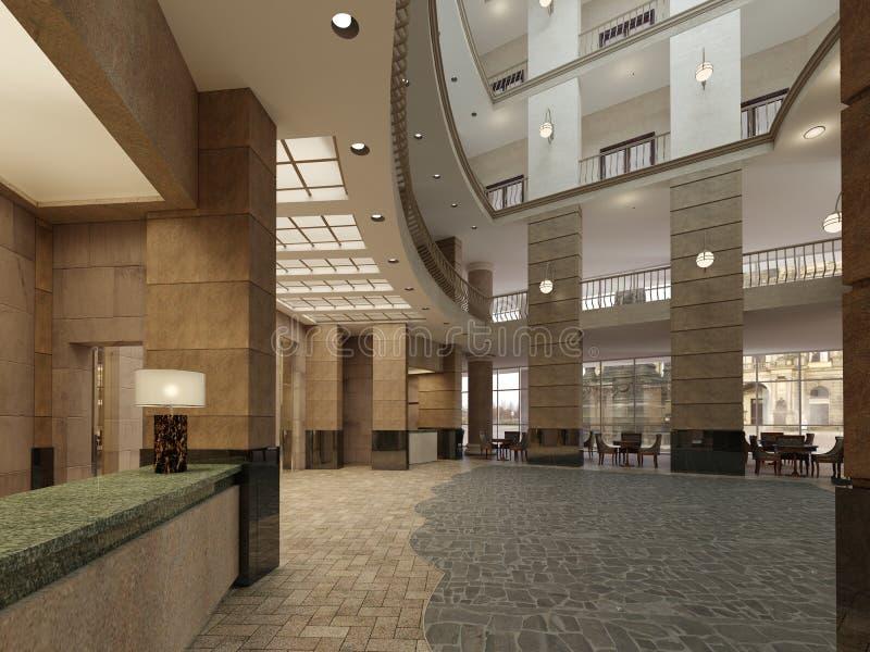 Lyxig mång--våning lobbykorridor av ettstjärna hotell, med stenväggar och golvet Kolonner och takljus royaltyfri illustrationer
