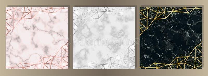 Lyxig marmor och blänker uppsättningen stock illustrationer