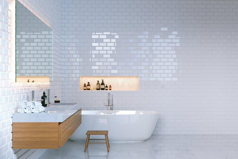 Lyxig minimalist badruminre med tegelstenväggar 3d framför fotografering för bildbyråer