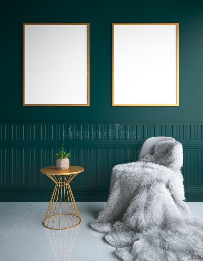 Lyxig minimalist mörk vardagsruminre med päls på stol- och affischmodell royaltyfri foto