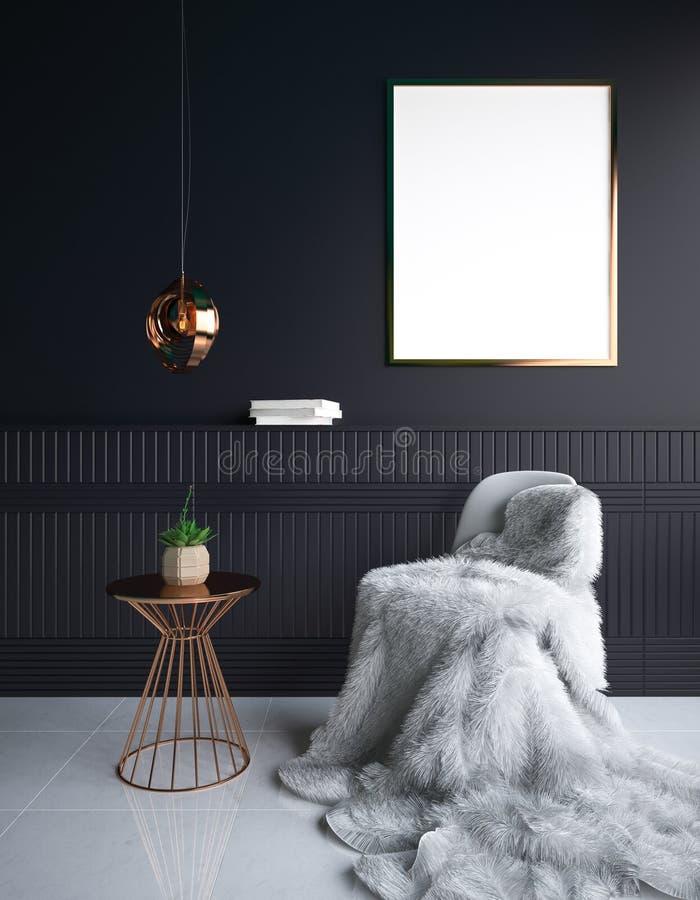Lyxig minimalist mörk vardagsruminre med päls på stol- och affischmodell royaltyfri bild