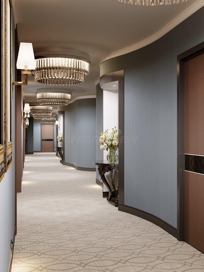 Lyxig modern korridor med blåa väggar, dekorativa nischer med konsoler och exponeringsglasljuskronor Inredesign av korridoren med vektor illustrationer
