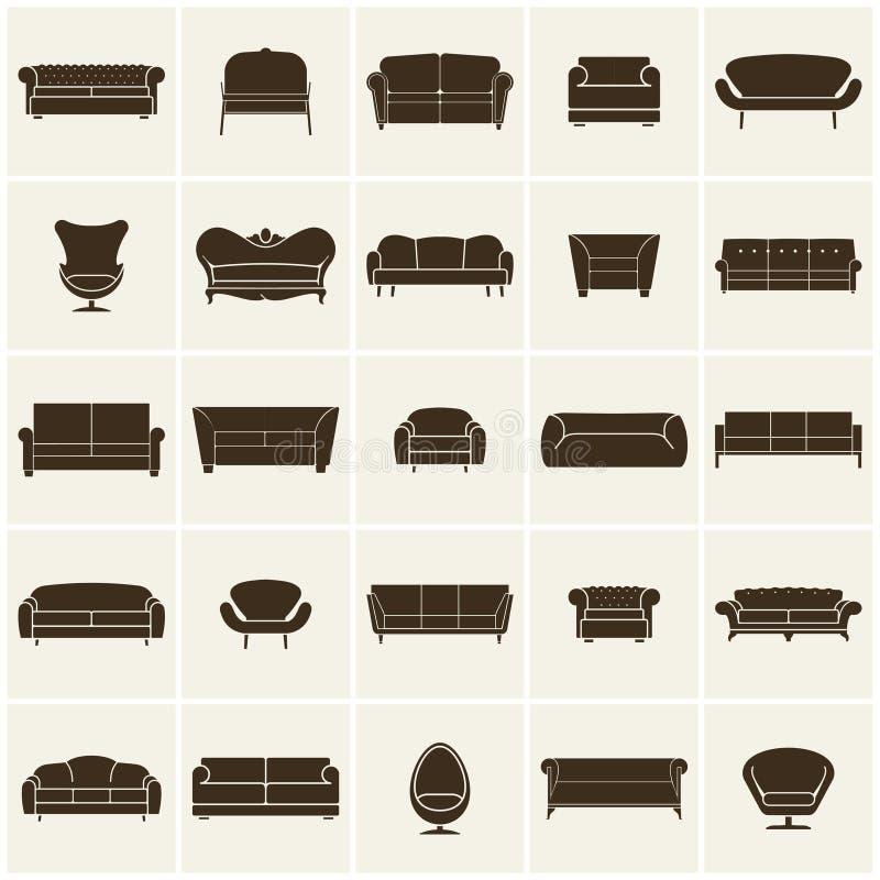 Lyxig modern soffa- och soffasymbolsuppsättning Tappningmöblemangsamling stock illustrationer