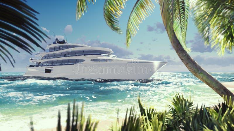 Lyxig modern yacht i havet på solnedgången En modern yacht som förtöjas nära en öde tropisk ö framförande 3d vektor illustrationer