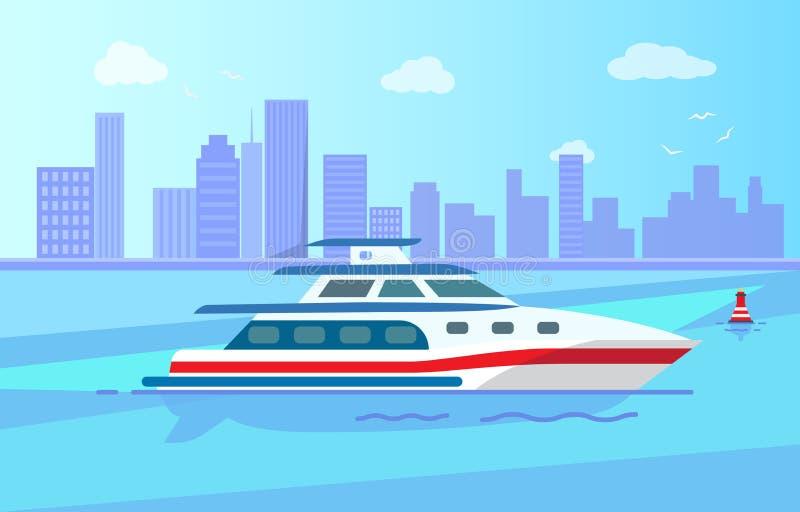 Lyxig modern yacht på vattenyttersida nära stad stock illustrationer