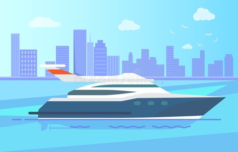 Lyxig modern yachtställning nära den långa kustlinjen stock illustrationer