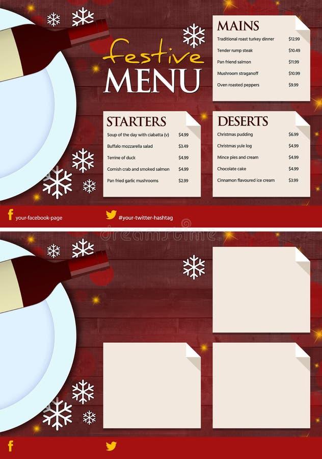 Lyxig och elegant festlig julmeny vektor illustrationer