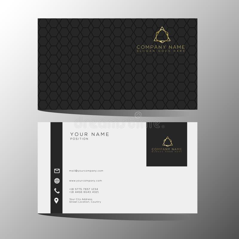 Lyxig och elegant svart guld- mall för affärskort på svart bakgrund arkivbild