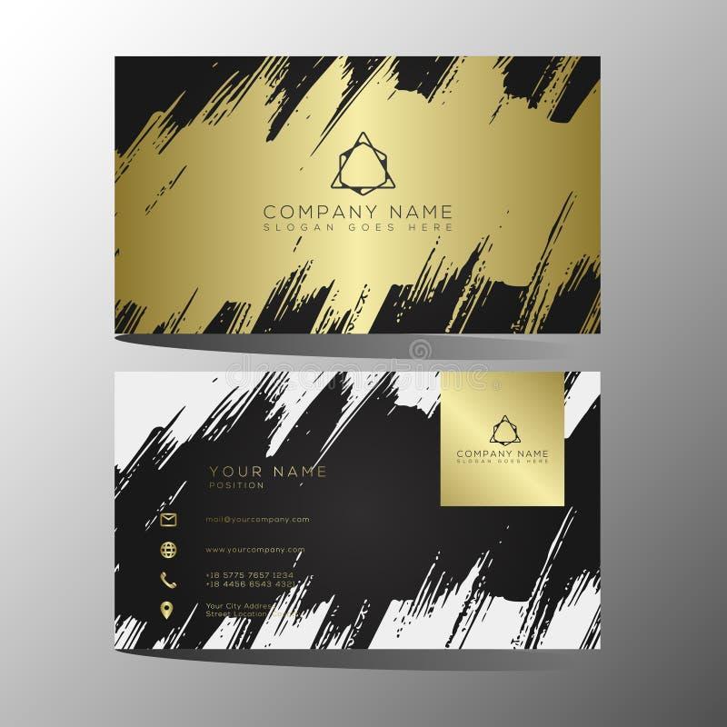 Lyxig och elegant svart guld- mall för affärskort på svart bakgrund royaltyfri illustrationer