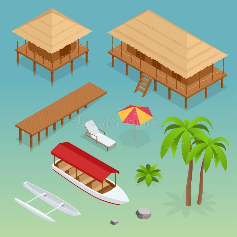 Lyxig overwater halmtäckt takbungalow, bro, palmträd, nöjefartyg, kajak, stranddagdrivare och solparaply royaltyfri illustrationer