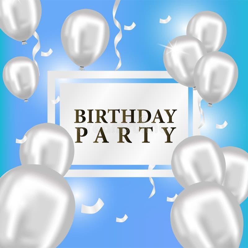 Lyxig partiberöm för födelsedaghändelse med den glansiga ballongen för flygaheliumsilver med blå bakgrund stock illustrationer