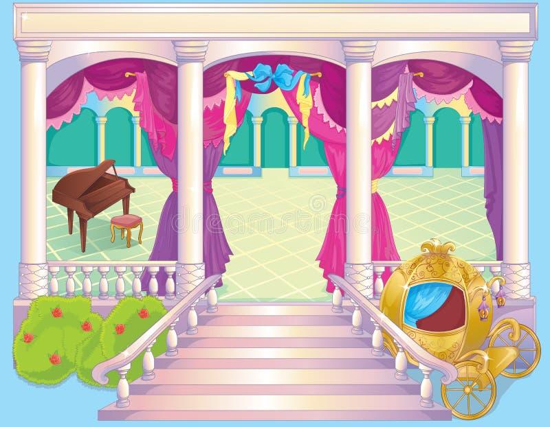 Lyxig prinsessa Dinner Room för saga royaltyfri illustrationer