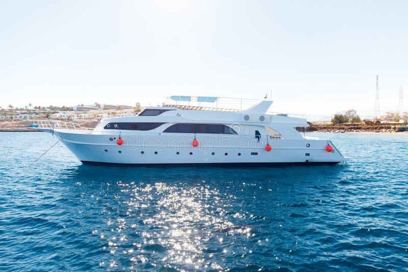 lyxig privat motoryacht royaltyfri foto