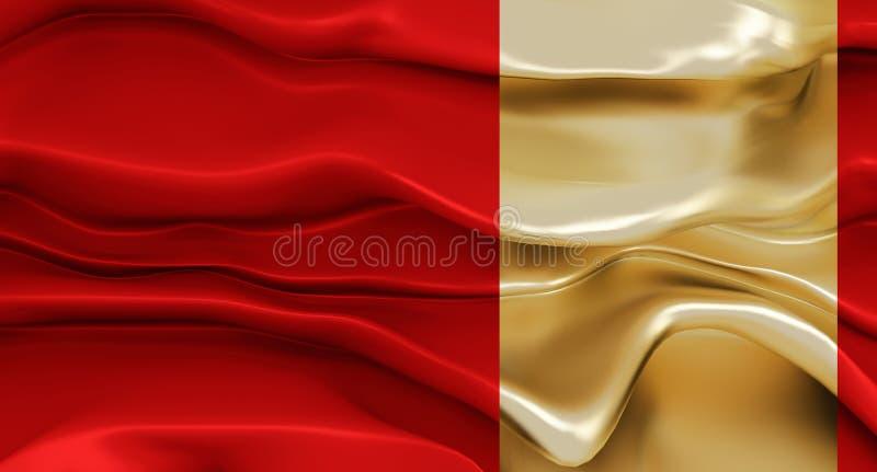Lyxig röd bakgrund med abstrakta former med en guld- brytning Flödande röd torkduk eller flödande tjock flytande med guld- segmen stock illustrationer
