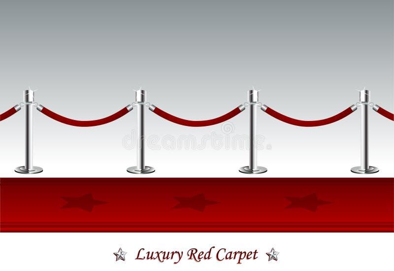 Lyxig röd matta med barriärrepet vektor illustrationer