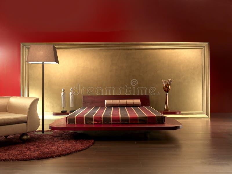 lyxig red för sovrumläder arkivbild