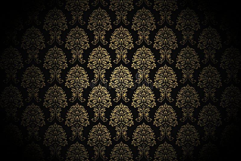 lyxig retro wallpaper för guld royaltyfri illustrationer