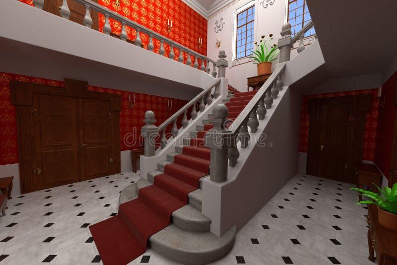 Lyxig säteriinre - lobby royaltyfri illustrationer