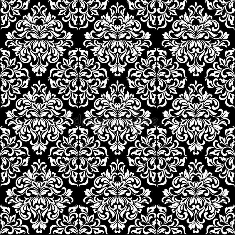 Lyxig sömlös modell Vit utsmyckad damast prydnad på en svart bakgrund Elegant tracery från virvlar och lövverk stock illustrationer