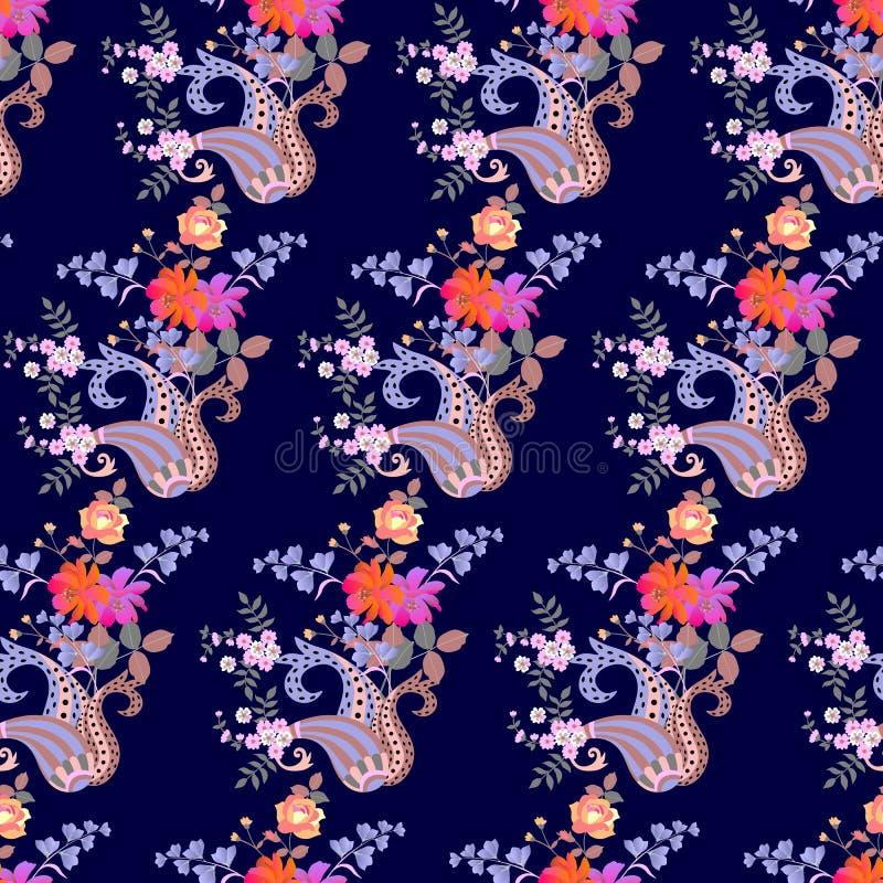 Lyxig sömlös paisley blom- modell i etnisk stil Indier perser, turkiska bevekelsegrunder royaltyfri illustrationer