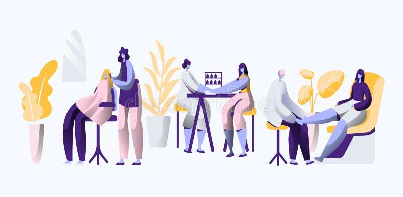 Lyxig salong för skönhet Den yrkesmässiga stylisten gör fingernagel- och hårinnegrej, elegans och härligt för kvinna cosmetic stock illustrationer