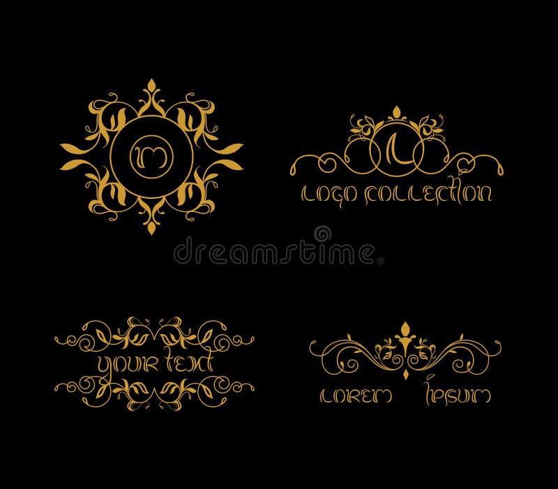 Lyxig samlingsvektor Logo Creation, guld- logo royaltyfri illustrationer
