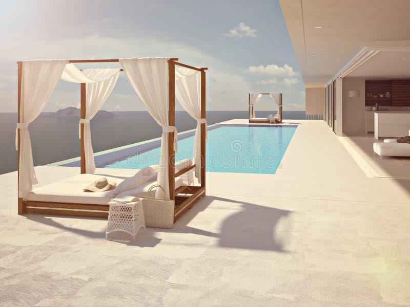 Lyxig simbassäng i Santorini färg redigerar framförande 3d arkivbilder