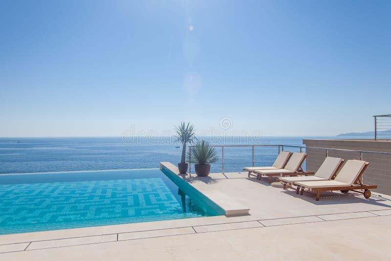 Lyxig simbassäng och blått vatten royaltyfria foton