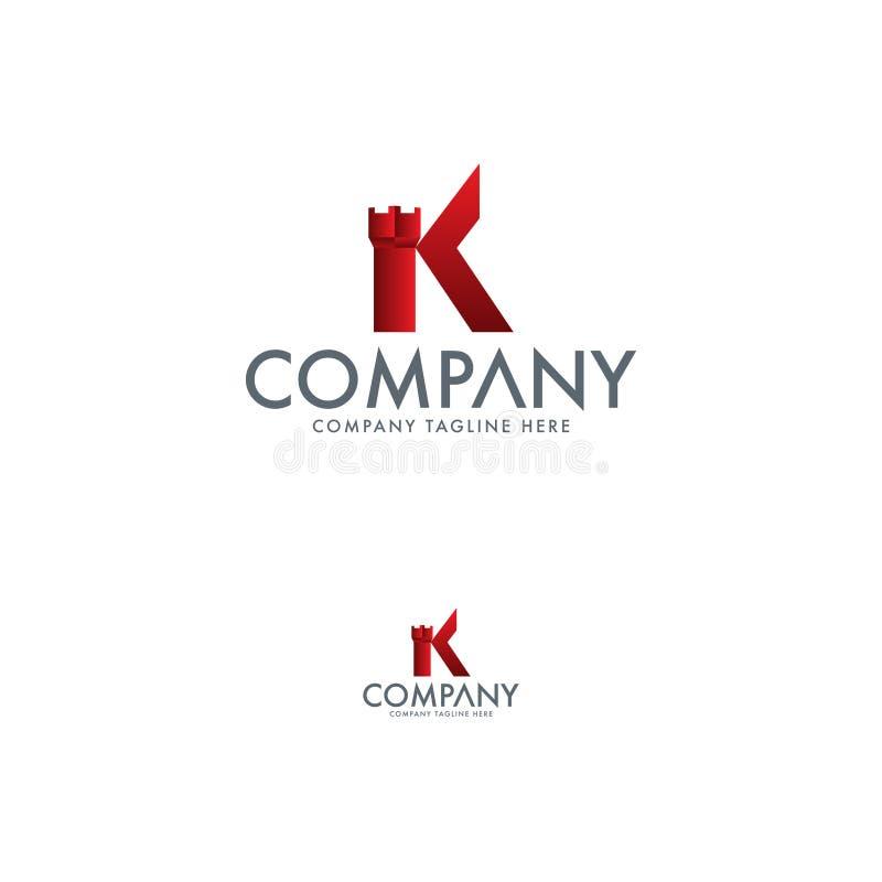 Lyxig slott och bokstav K Logo Template vektor illustrationer