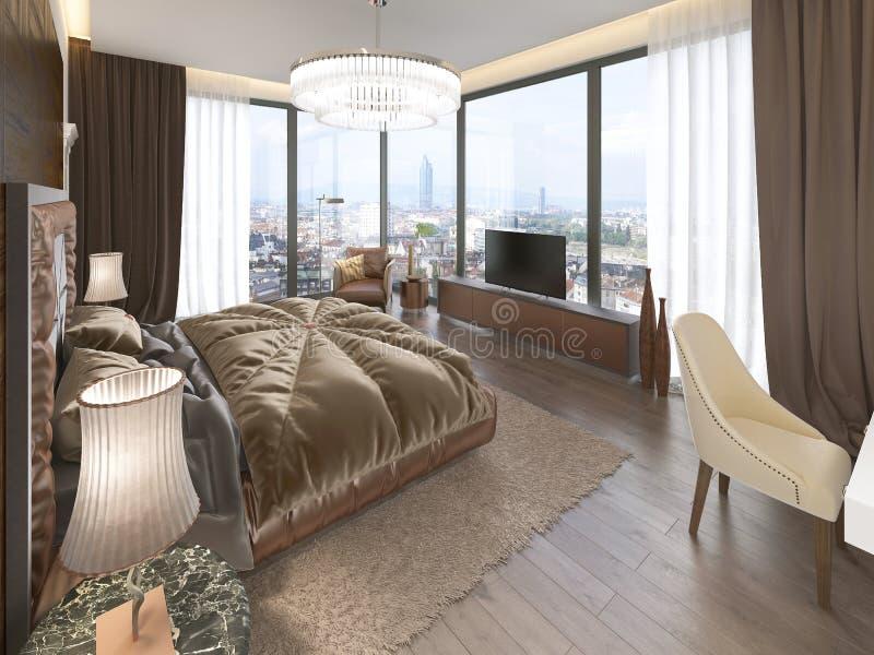 Lyxig sovruminre med den tygsäng, skänken och nightstands stock illustrationer