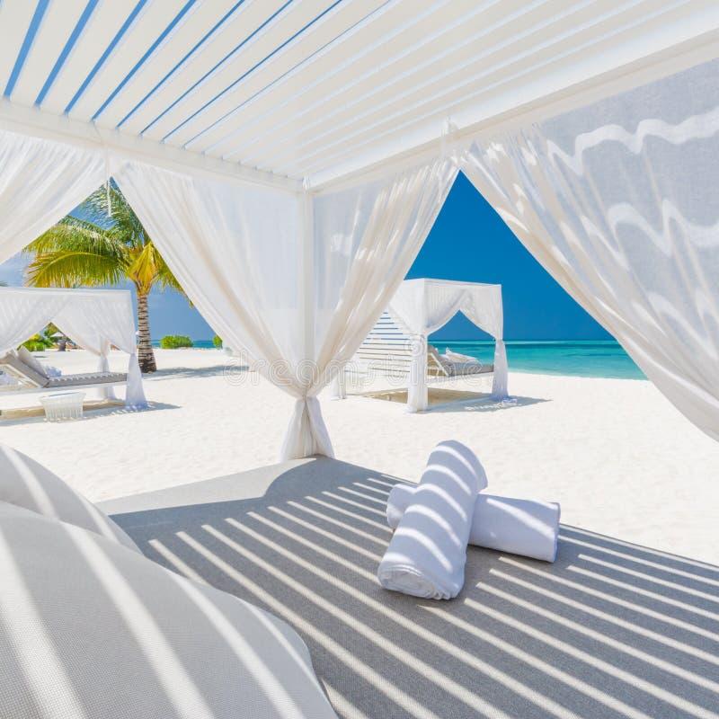 Lyxig strandbakgrund Vita strandtält och dagdrivare och blåa havsbakgrund och palmträd och blå himmel arkivbild