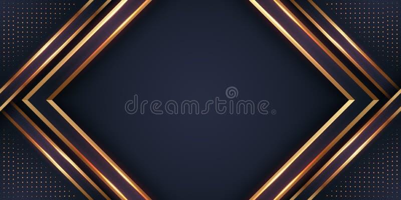 Lyxig svart bakgrund med en kombination som glöder guld- med stil 3D Abstrakt svart papercut texturerad bakgrund med att skina royaltyfri illustrationer