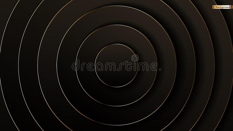 Lyxig svart för abstrakt polygonal modell med guld stock illustrationer