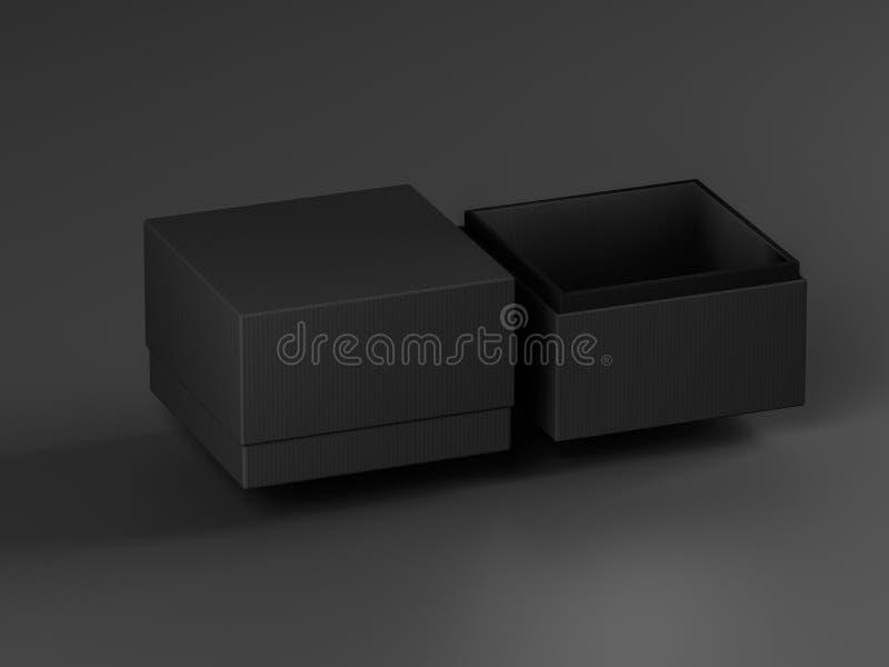 Lyxig svart gåvaask Fyrkantig ask på svart bakgrund Emballage för modell isolerad white för ask gåva framförande 3d vektor illustrationer