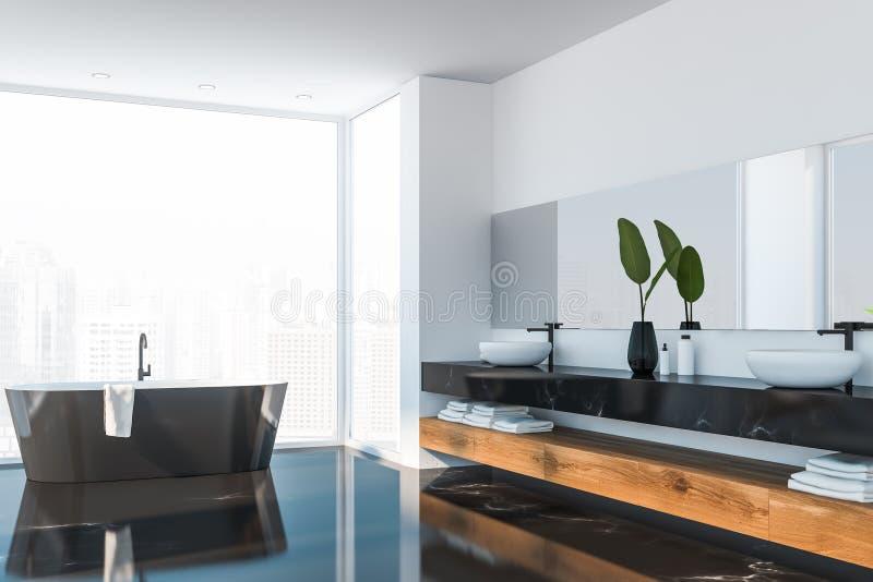 Lyxig svart marmorerar badrumhörnet stock illustrationer
