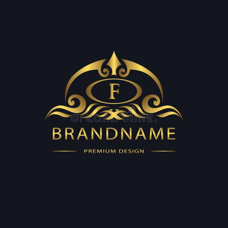 Lyxig tappninglogo Affärstecken, etikett, bokstavsemblem F för emblemet, vapen, restaurang, royalty, boutiquemärke, hotell som är royaltyfri illustrationer