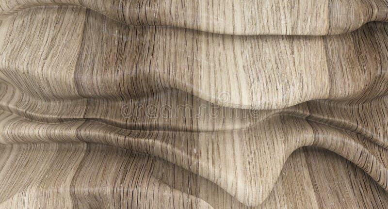 Lyxig träbakgrund av abstrakt form Smooth flödande former Abstrakt smältt vägg royaltyfri illustrationer