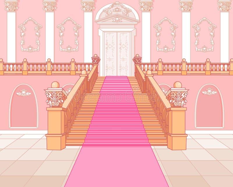 Lyxig trappuppgång i slott royaltyfri illustrationer
