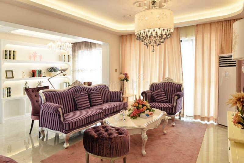 Lyxig vardagsrum royaltyfria foton