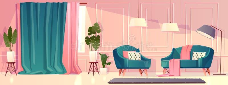Lyxig vardagsrum för vektor i rosa färg stock illustrationer