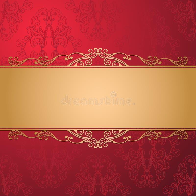 Lyxig vektorbakgrund för tappning Guld- dekorerat band på röd sömlös damast modell vektor illustrationer